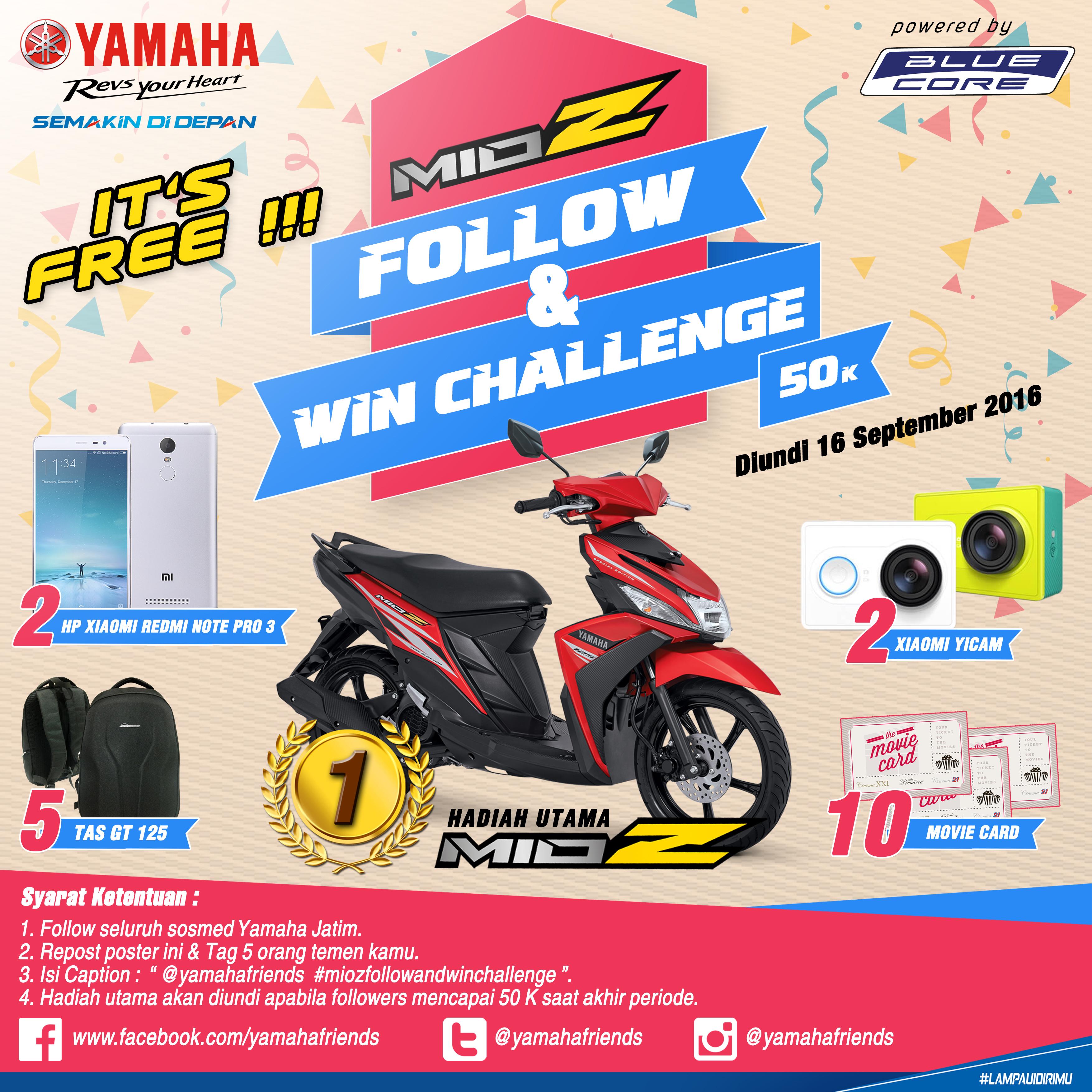 Follow IG Yamaha dan Dapatkan Mio Z Gratis…!!!