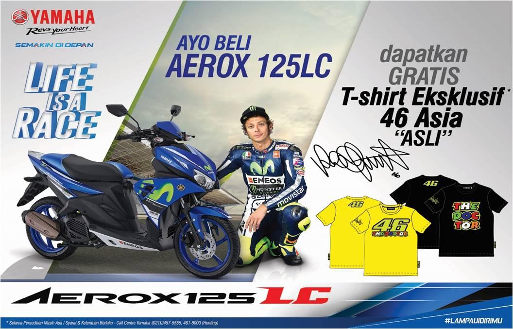 Pembelian Yamaha Aerox 125LC Periode Agustus-September Gratis T-Shirt 46 Asia Asli