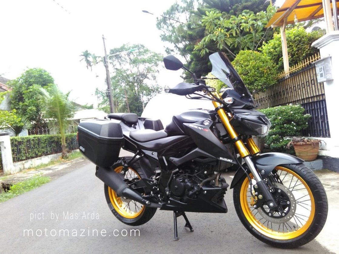 Modifikasi GSX S150 Ala Touring Bike Dengan Pannier Suspensi USD